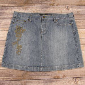 DKNY Mini Jean Skirt Size 14 Floral Embroidery